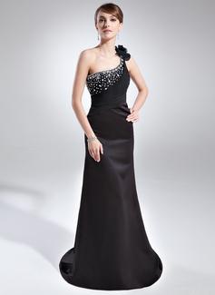 Etui-Linie One-Shoulder-Träger Hof-schleppe Satin Abendkleid mit Rüschen Perlen verziert (017025832)