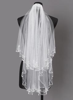 Dos capas Con abalorios Codo velos nupciales con La perla de faux (006203737)