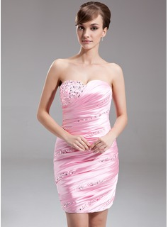 Sheath Sweetheart Short/Mini Charmeuse Cocktail Dress With Ruffle Beading Sequins (016024430)
