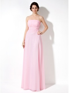 A-Line/Princess Strapless Floor-Length Chiffon Bridesmaid Dress With Ruffle (007001787)