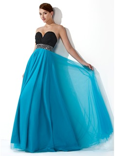 Robe de Bal de Promo Empire Cur Longeur au sol Mousseline Tulle Robe de Bal de Promo avec Ondul Brod Paillet (018004900)