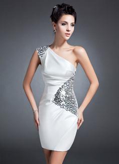 Etui-Linie One-Shoulder-Träger Kurz/Mini Charmeuse Kleid für die Brautmutter mit Rüschen Pailletten (008015096)