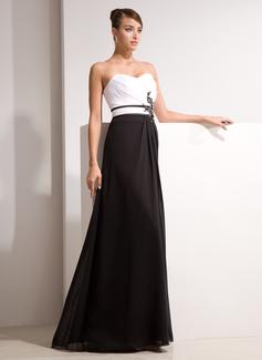 A-Linie/Princess-Linie Herzausschnitt Bodenlang Chiffon Abendkleid mit Rüschen Perlen verziert Applikationen Spitze (017014461)