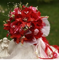 Bright Round Satin Bridal Bouquets (124032078)