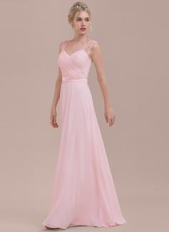 A-linjainen/Prinsessa Kultaseni Lattiaa hipova pituus Sifonki Morsiusneitojen mekko jossa Rypytys (007116628)