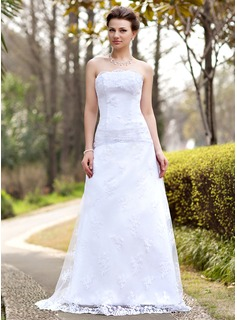 A-Line/Princess Strapless Sweep Train Satin Lace Wedding Dress With Ruffle (002000127)