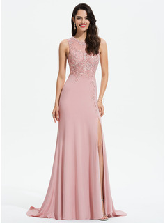 Sheath/Column Scoop Neck Sweep Train Jersey Evening Dress With Lace Split Front (017196092)
