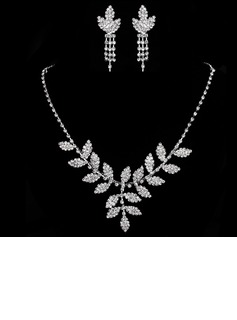 Leaves Shaped Alloy/Rhinestones Ladies' Jewelry Sets (011005473)