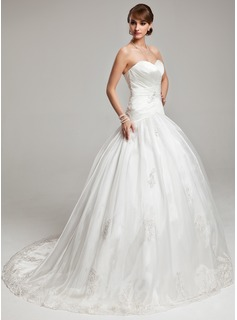 Ball-Gown Sweetheart Chapel Train Satin Organza Wedding Dress With Appliques Lace (002017560)