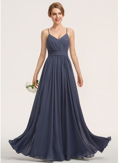 A-Line Sweetheart Floor-Length Chiffon Bridesmaid Dress With Ruffle (007190709)