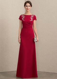 A-Linie/Princess-Linie U-Ausschnitt Bodenlang Strech-Krepp Kleid für die Brautmutter mit Perlstickerei Pailletten (008152143)