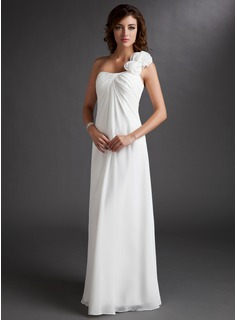 Bridesmaid Dresses Empire One-Shoulder Floor-Length Chiffon Bridesmaid Dress With Ruffle Flower(s) (007016719)
