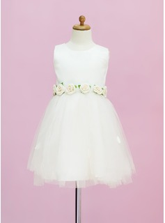 A-Line/Princess Scoop Neck Tea-Length Satin Tulle Flower Girl Dress With Flower(s) (010005331)
