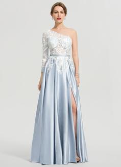A-Line One-Shoulder Floor-Length Satin Prom Dresses With Split Front (018192335)
