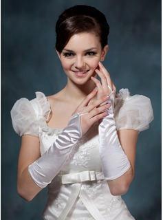 Elastic Satin Elbow Length Bridal Gloves (014020508)