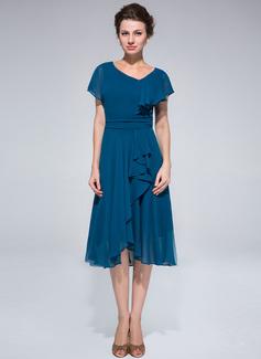 A-Linie/Princess-Linie Asymmetrisch Chiffon Kleid für die Brautmutter mit Rüschen Gestufte Rüschen (008033514)