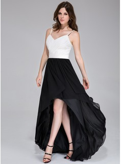 A-Line/Princess Sweetheart Asymmetrical Chiffon Prom Dress With Ruffle (020037393)