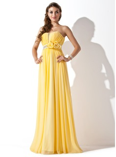 A-Line/Princess Sweetheart Floor-Length Chiffon Satin Prom Dress With Ruffle Beading Flower(s) (018013789)