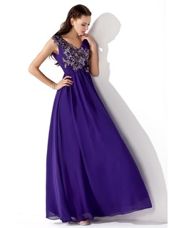 A-Line/Princess V-neck Floor-Length Chiffon Prom Dress With Ruffle Beading Appliques (018013105)