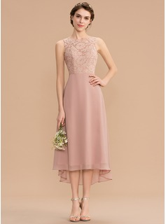 A-Line Scoop Neck Asymmetrical Chiffon Lace Bridesmaid Dress With Bow(s) (007176773)