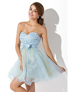 Empire Sweetheart Short/Mini Organza Satin Homecoming Dress With Ruffle Beading Bow(s) (022007286)