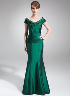 Trompete/Meerjungfrau-Linie Schulterfrei Bodenlang Taft Kleid für die Brautmutter mit Rüschen Perlen verziert (008006494)