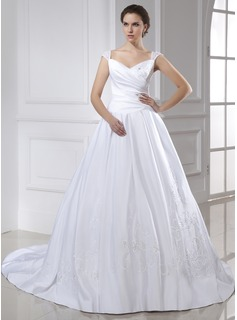 Ball-Gown V-neck Chapel Train Satin Wedding Dress With Embroidery Ruffle (002015466)