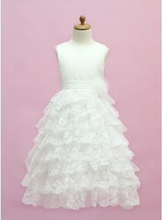 A-Line/Princess Scoop Neck Floor-Length Satin Lace Flower Girl Dress With Bow(s) Cascading Ruffles (010005333)