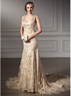 Mermaid V-neck Chapel Train Satin Lace Wedding Dress With Beadwork (002000116)