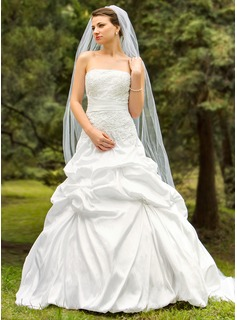 Ball-Gown Strapless Court Train Taffeta Wedding Dress With Embroidery Ruffle Beading (002024693)