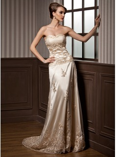A-Line/Princess Sweetheart Court Train Tulle Charmeuse Wedding Dress With Ruffle Lace (002000169)