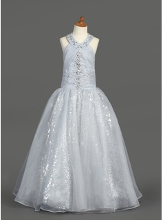 A-Line/Princess Floor-length Flower Girl Dress - Organza/Sequined Sleeveless Halter With Ruffles/Beading (010007389)