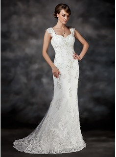 Trumpet/Mermaid Sweetheart Court Train Tulle Wedding Dress With Beading Appliques Lace (002017413)