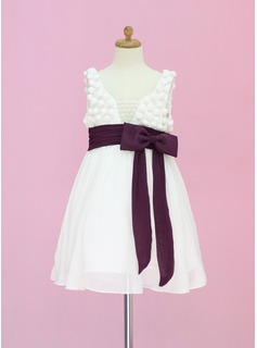 A-Line/Princess Tea-length Flower Girl Dress - Chiffon/Tulle Sleeveless Scoop Neck With Sash/Beading/Bow(s) (010005336)