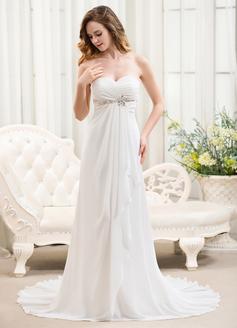 A-Line/Princess Sweetheart Sweep Train Chiffon Wedding Dress With Beading Cascading Ruffles (002054368)