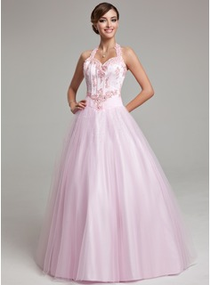Ball-Gown Halter Floor-Length Tulle Prom Dresses With Beading Appliques Lace (018135521)