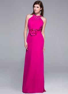 Etui-Linie U-Ausschnitt Bodenlang Chiffon Abendkleid mit Perlen verziert Blumen (017025687)