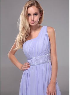 Formal Dresses Online A-Line/Princess One-Shoulder Floor-Length Chiffon Evening Dress With Ruffle Beading (017012112)