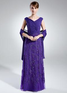 A-Linie/Princess-Linie Off-the-Schulter Bodenlang Chiffon Kleid für die Brautmutter mit Rüschen Lace (008006021)