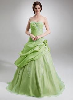 Duchesse-Linie Schatz Bodenlang Taft Organza Quinceañera Kleid (Kleid für die Geburtstagsfeier) mit Rüschen Applikationen Spitze Blumen (021004727)