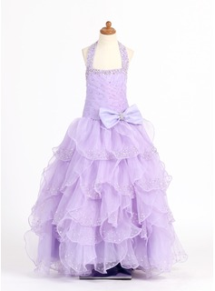 Ball Gown Floor-length Flower Girl Dress - Organza/Charmeuse Sleeveless Scoop Neck With Ruffles/Beading/Sequins/Bow(s) (010007321)
