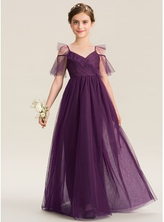 A-Line V-neck Floor-Length Tulle Junior Bridesmaid Dress With Cascading Ruffles (009173306)