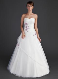 Duchesse-Linie Schatz Bodenlang Organza Quinceañera Kleid (Kleid für die Geburtstagsfeier) mit Rüschen Perlstickerei Applikationen Spitze Pailletten (021015592)