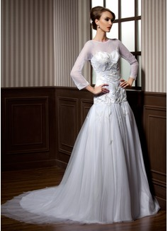 Forme Princesse Col rond Traîne mi-longue Satiné Tulle Robe de mariée avec Emperler (002004776)
