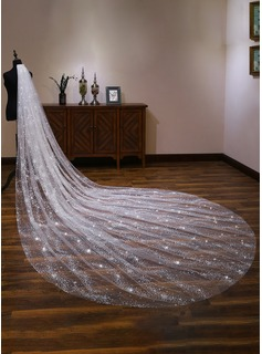 One-tier Cut Edge Cathedral Bridal Veils With Lace (006190594)