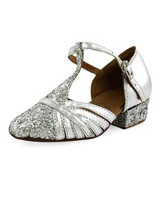 Women's Kids' Leatherette Sparkling Glitter Heels Flats Pumps Modern With T-Strap Dance Shoes (053013188)