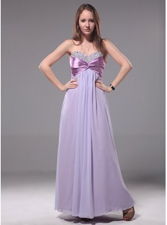 Cheap Evening Dresses Empire Sweetheart Floor-Length Chiffon Charmeuse Evening Dress With Ruffle Beading (017012110)