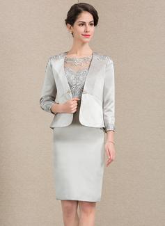 Etui-Linie U-Ausschnitt Knielang Satin Spitze Kleid für die Brautmutter (008143386)