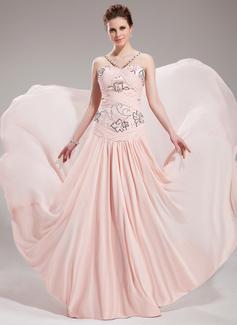 A-Lijn/Prinses Sweetheart Hof Trein De Chiffon Avondjurk met Roes Kraalwerk Pailletten (017019760)