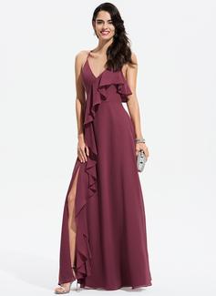 A-Line V-neck Floor-Length Chiffon Evening Dress With Split Front Cascading Ruffles (017196091)